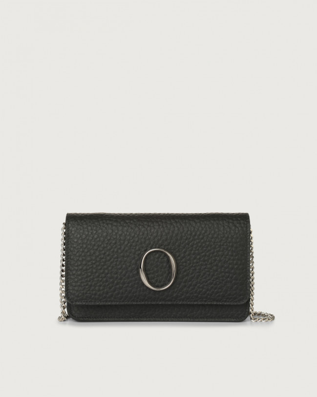Orciani Soft leather pochette with RFID Leather Black