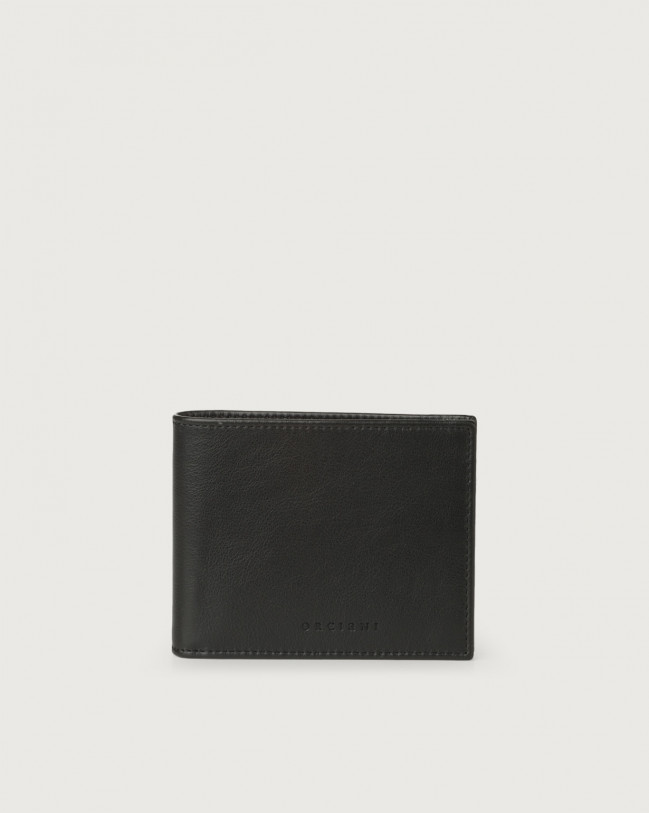 Orciani Liberty smooth leather wallet with RFID Leather Black