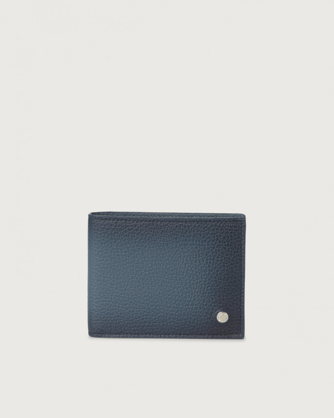 Orciani Micron Deep leather wallet with RFID Leather Blue