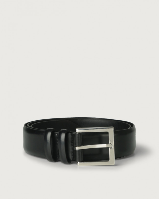 Orciani Toledo classic leather belt 3,5 cm Leather Black