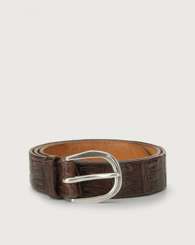 Orciani Cocco Coda Color classic crocodile leather belt Crocodile Leather Chocolate