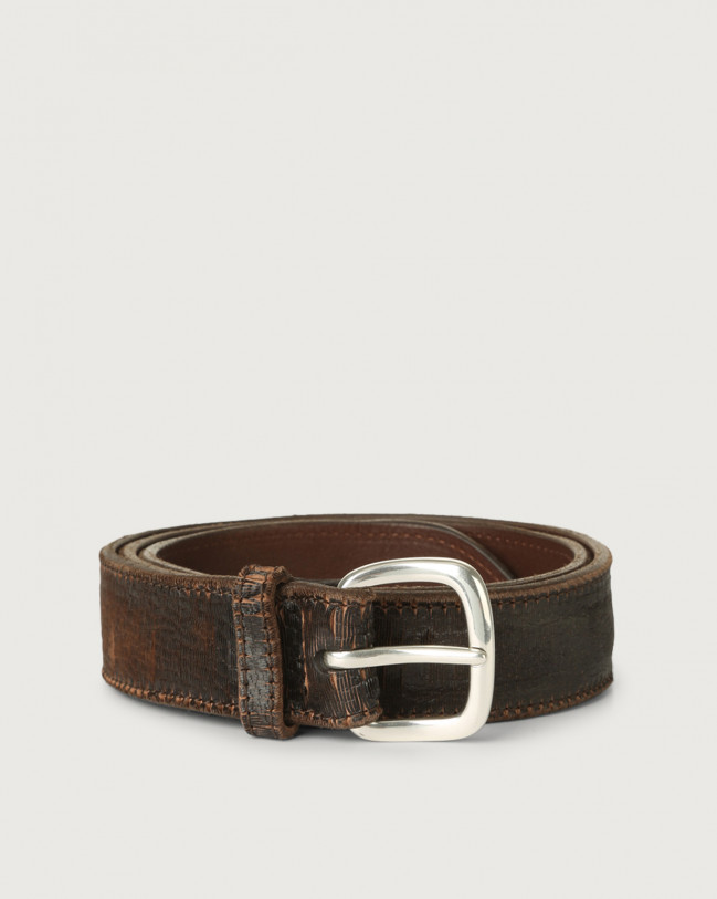 Orciani Cutting leather belt 3,5 cm Leather Chocolate