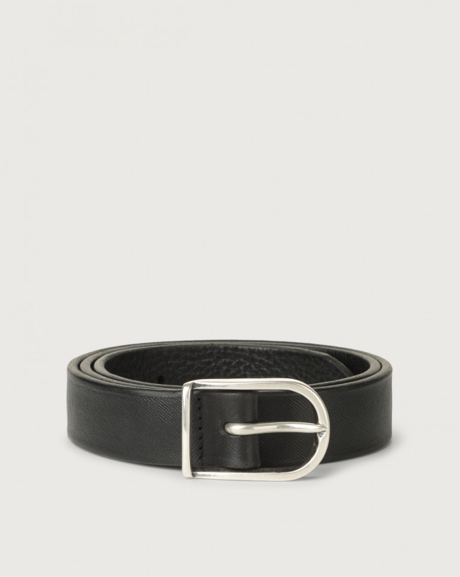 Orciani Saffiano Deep classic leather belt 3 cm Leather Black
