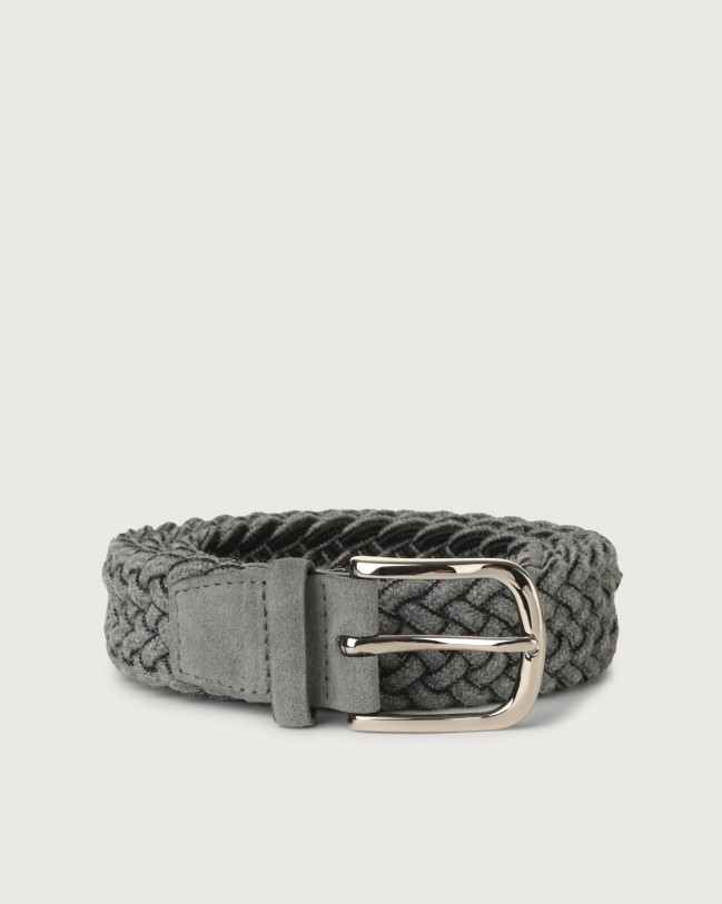 Orciani Ribbon braided wool stretch belt Wool Dark grey