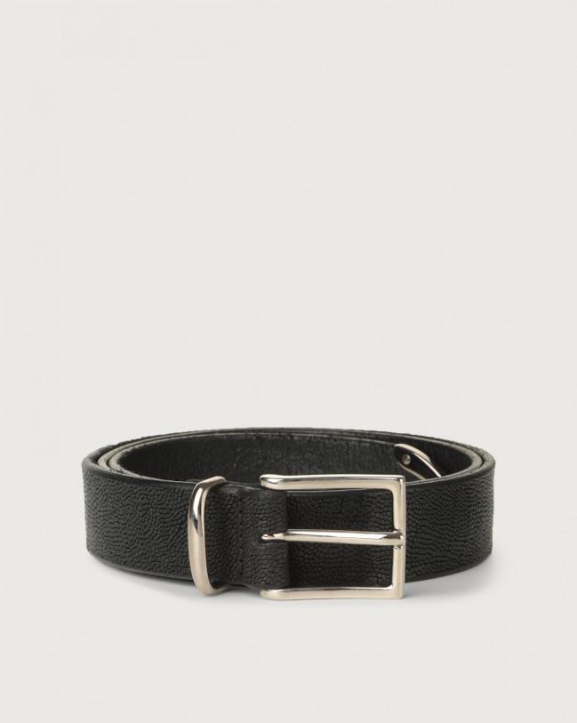 Orciani Frog leather belt 3 cm Embossed leather Black