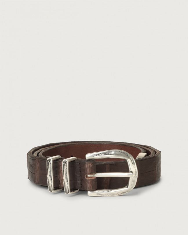 Orciani Cocco Coda Color crocodile leather belt 2,8 cm Crocodile Leather Chocolate