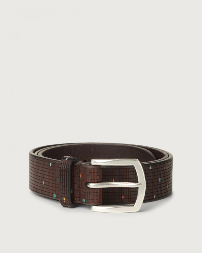 Orciani Tetris leather belt Leather Chocolate