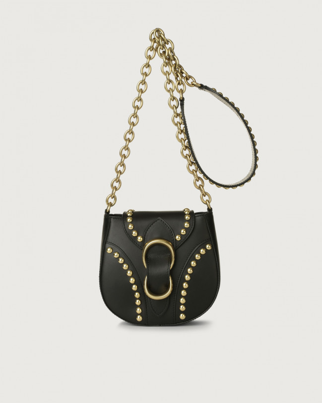 Orciani Beth Piuma Ball small leather crossbody bag Leather Black