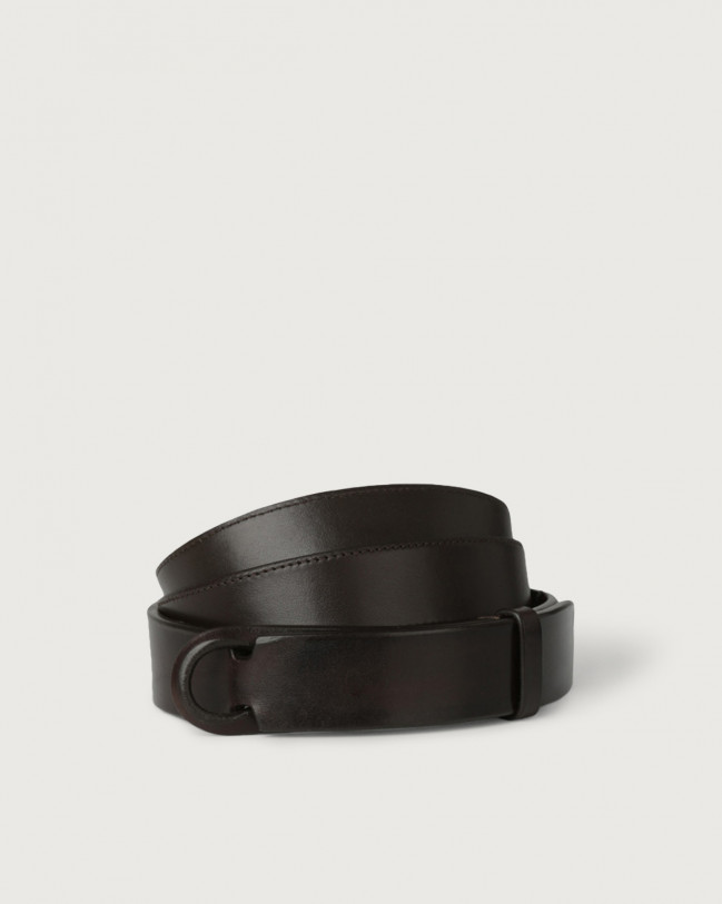 Orciani Bull leather Nobuckle belt Leather Chocolate