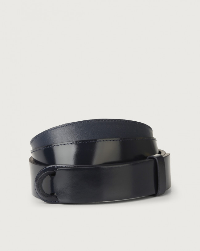 Orciani Bright patent leather Nobuckle belt Leather, Patent Blue