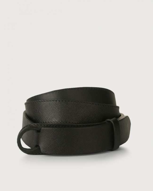 Orciani Saffiano leather Nobuckle belt Leather Black