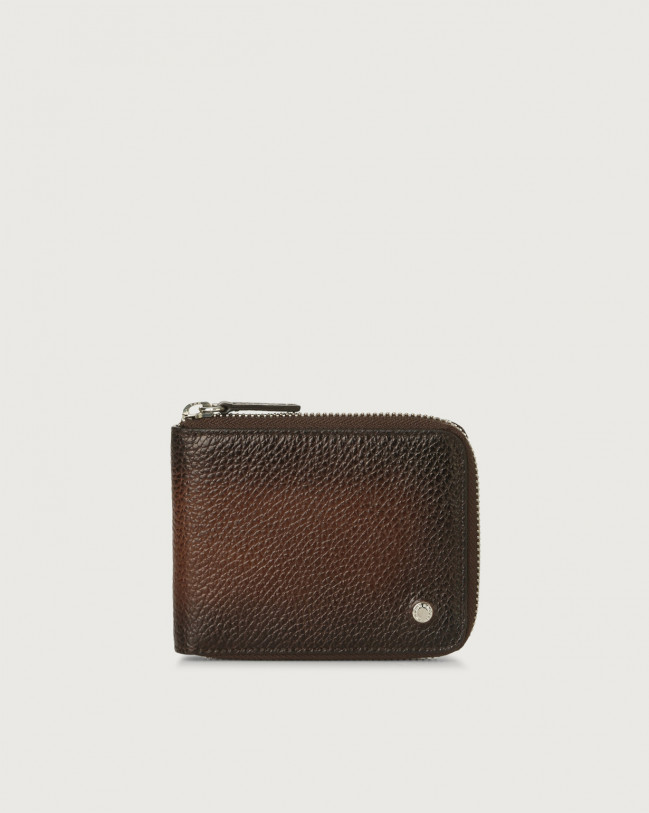 Orciani Micron Deep leather wallet with coin pocket Burnt