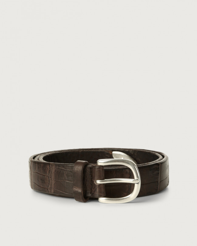 Orciani Cocco Coda Color crocodile leather belt Crocodile Leather Chocolate