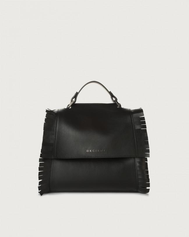 Orciani Sveva Liberty Fringe small leather handbag with strap Leather Black