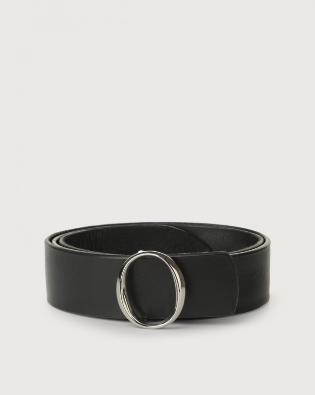 Orciani Bull Soft leather belt with monogram buckle Black