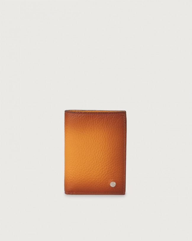Orciani Micron Deep leather vertical wallet with RFID Leather Ocher