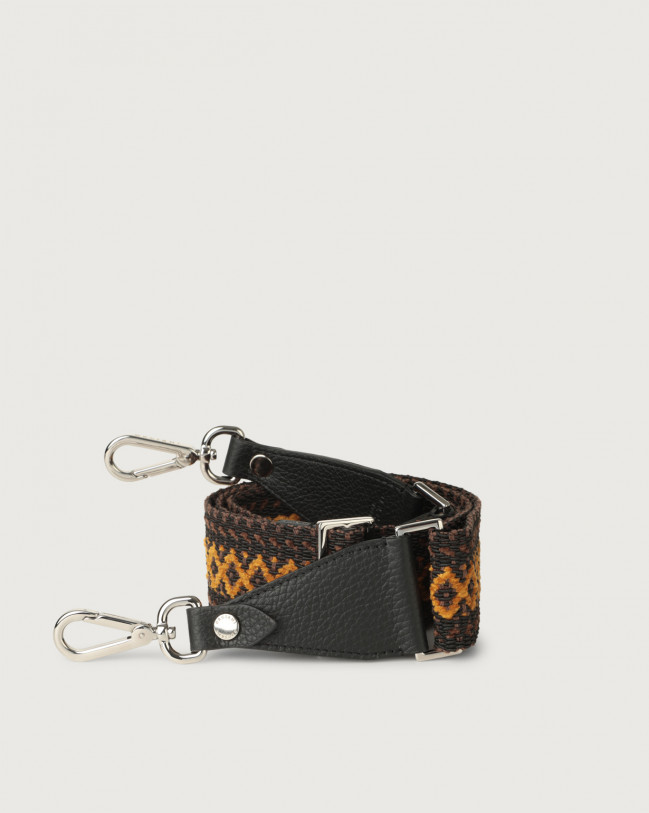 Orciani Warm fabric and leather strap Leather & fabric Black+Cocoa