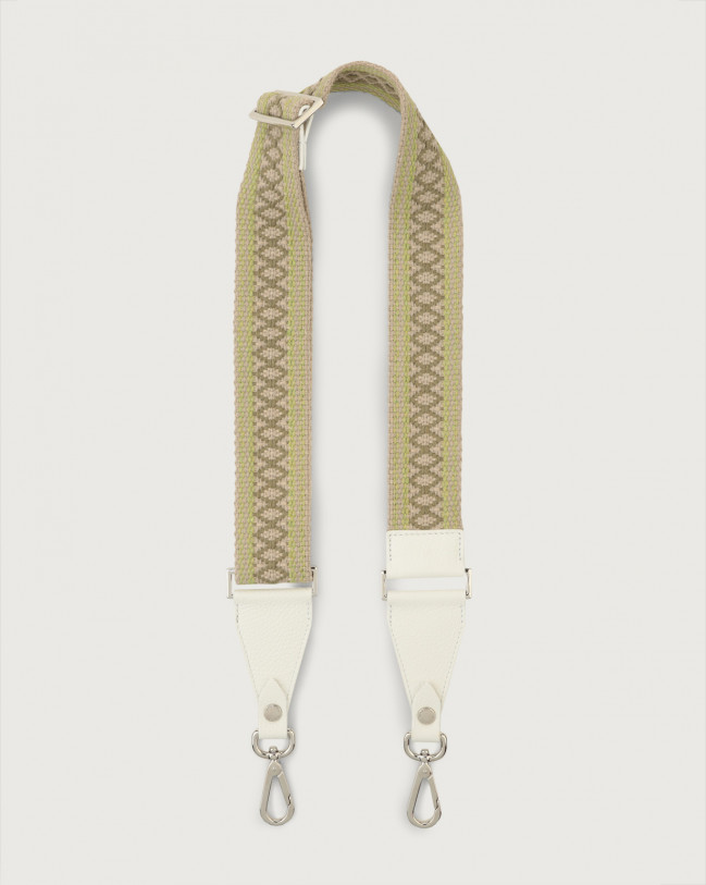 Orciani Warm fabric and leather strap Leather & fabric White+Green