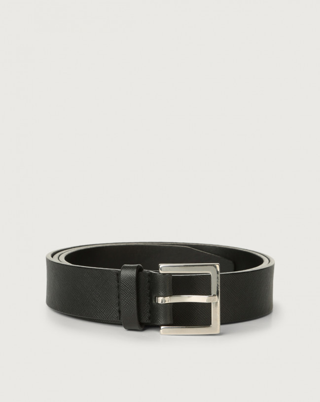 Orciani Basic Saffiano classic leather belt Leather Black