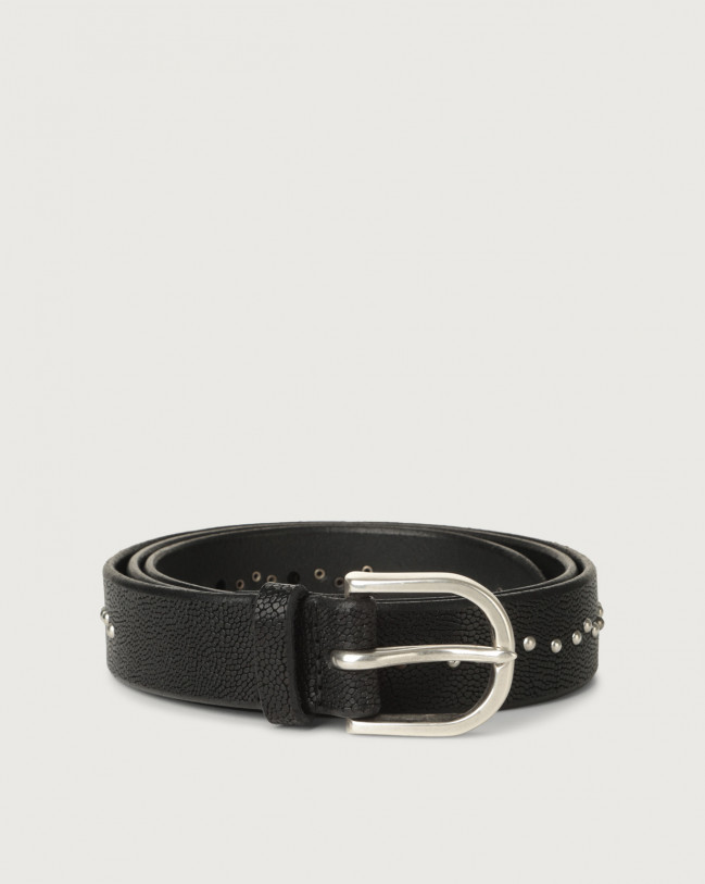 Orciani Frog micro-studs leather belt Embossed leather Chocolate