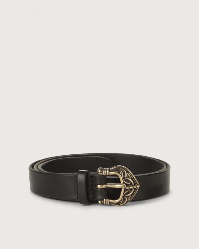 Orciani Bull Soft thin leather belt 2 cm Leather Black