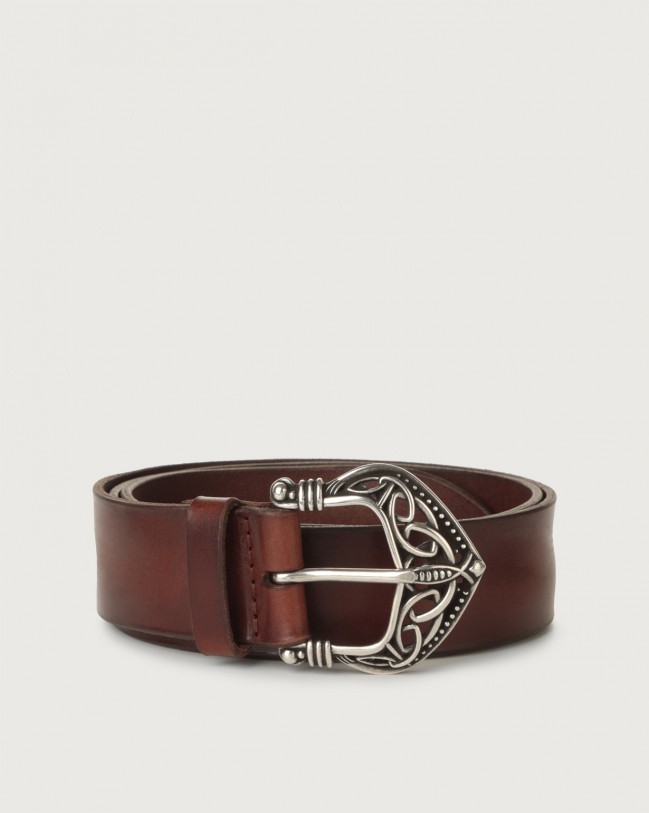 Orciani Bull Soft leather belt 3,5 cm Leather Brown