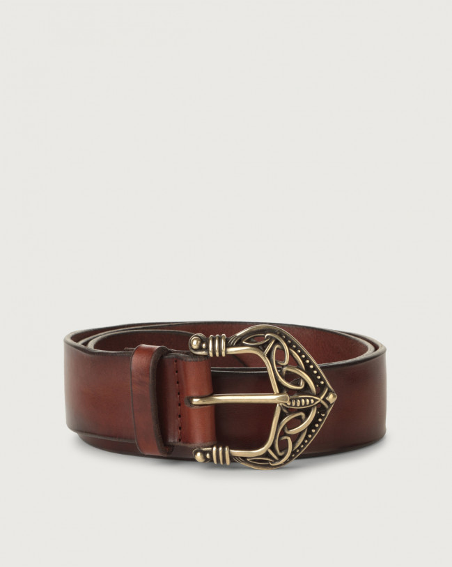 Orciani Bull Soft leather belt with brass buckle 3,5 cm Leather Brown