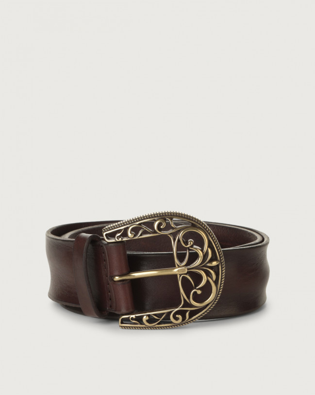 Orciani Bull Soft leather belt with brass buckle 4 cm Leather Chocolate