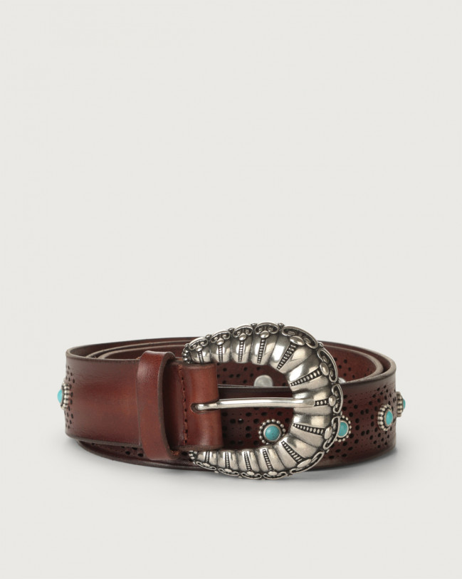 Orciani Bull Soft leather belt with turquoises Leather Chocolate
