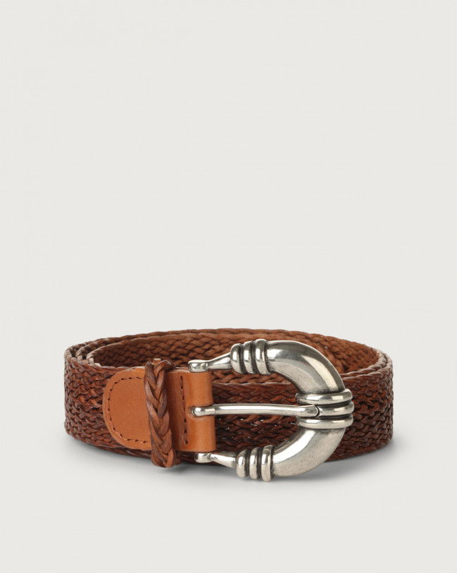 Orciani Masculine braided leather belt 3 cm Leather Cognac