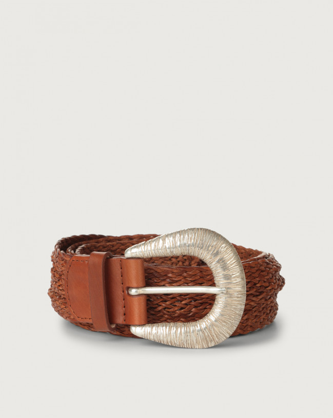 Orciani Masculine braided leather belt 4 cm Leather Cognac