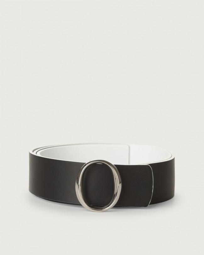 Orciani Piuma Double leather belt Leather Black+White