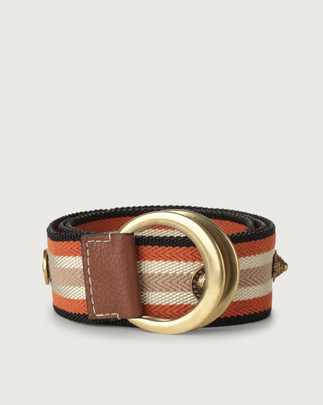 Orciani Fanty high-waist fabric belt Canvas Cognac