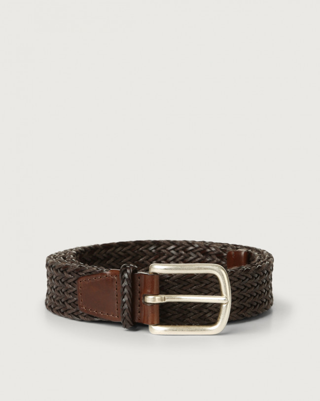Orciani Cusp leather and cotton belt Leather Chocolate