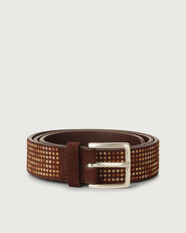 Orciani Cloudy Braille suede belt Suede Brown