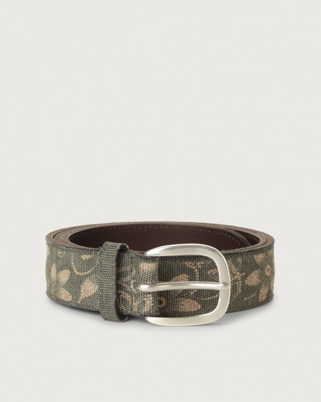 Orciani Fabric Flower fabric and leather belt Leather & fabric Mud