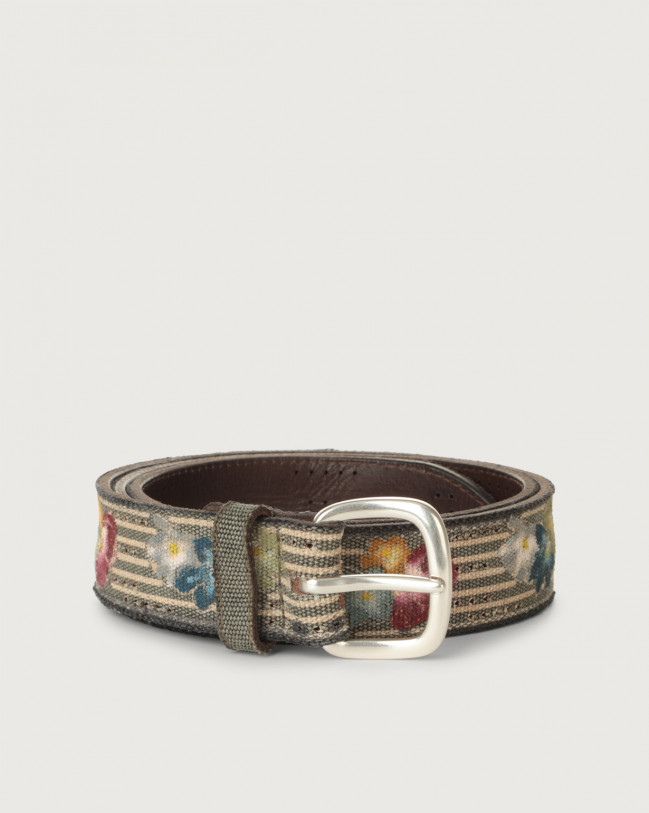 Orciani Flower Color fabric and leather belt Leather & fabric Mud