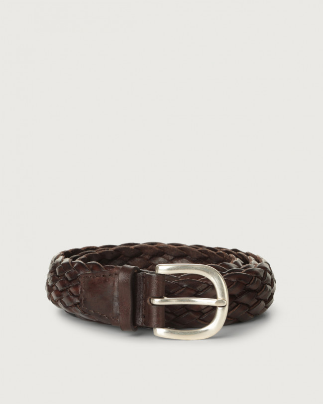 Orciani Masculine braided leather belt 3 cm Leather Chocolate