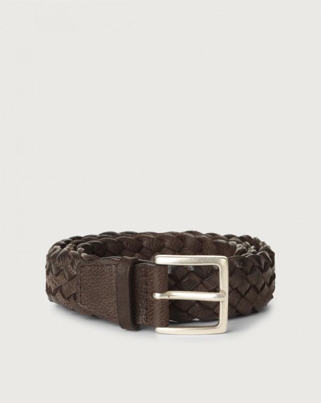 Orciani Chevrette braided nabuck leather belt Nabuck Chocolate