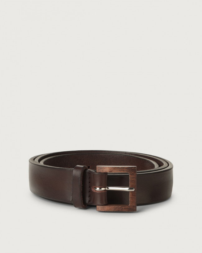 Orciani Bull Soft leather belt with wooden buckle 3 cm Leather Chocolate