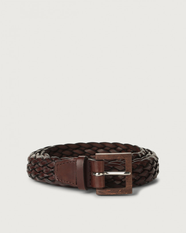 Orciani Masculine leather belt with wooden buckle 3 cm Leather Chocolate