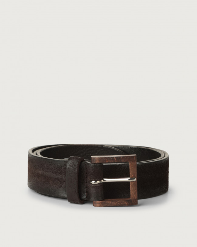 Orciani Hunting suede belt with wooden buckle Suede Chocolate