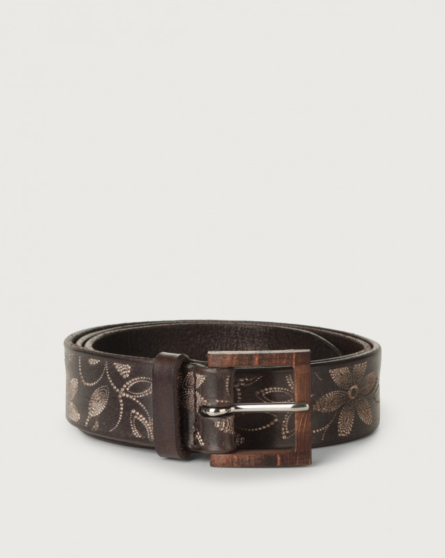 Orciani Stain Soapy leather belt with wooden buckle Leather Chocolate