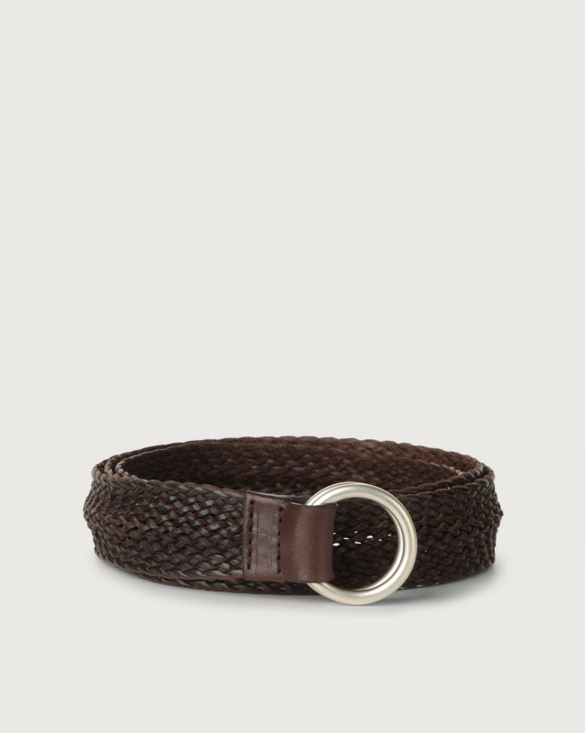 Orciani Masculine braided leather belt Leather Chocolate