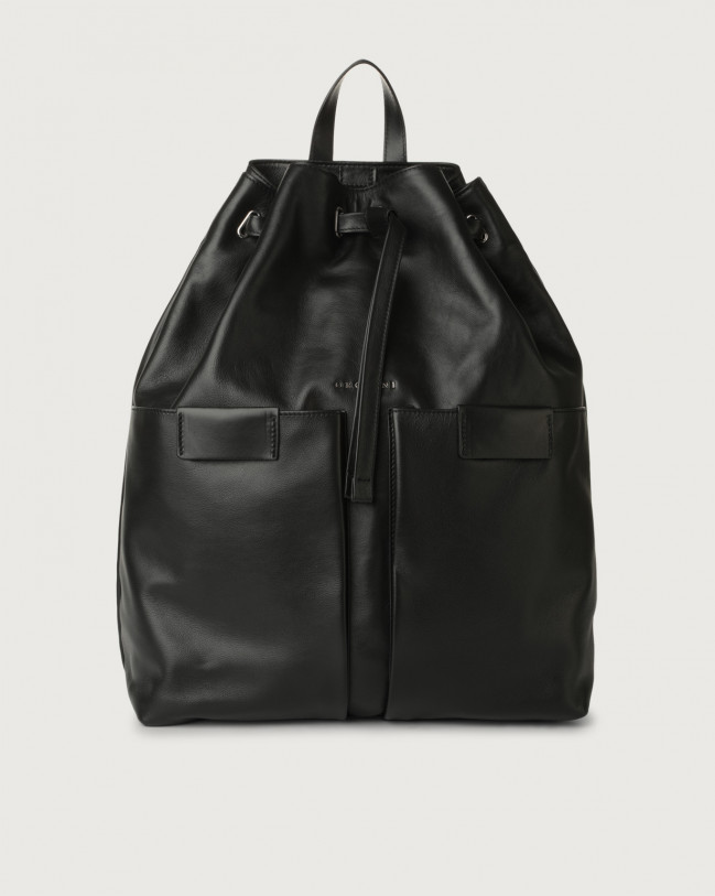 Orciani Liberty leather drawstring backpack Leather Black
