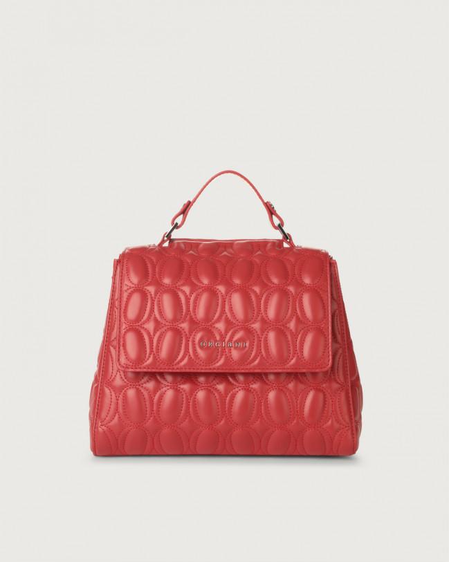 Orciani Sveva Matelassé small leather handbag with strap Leather Red