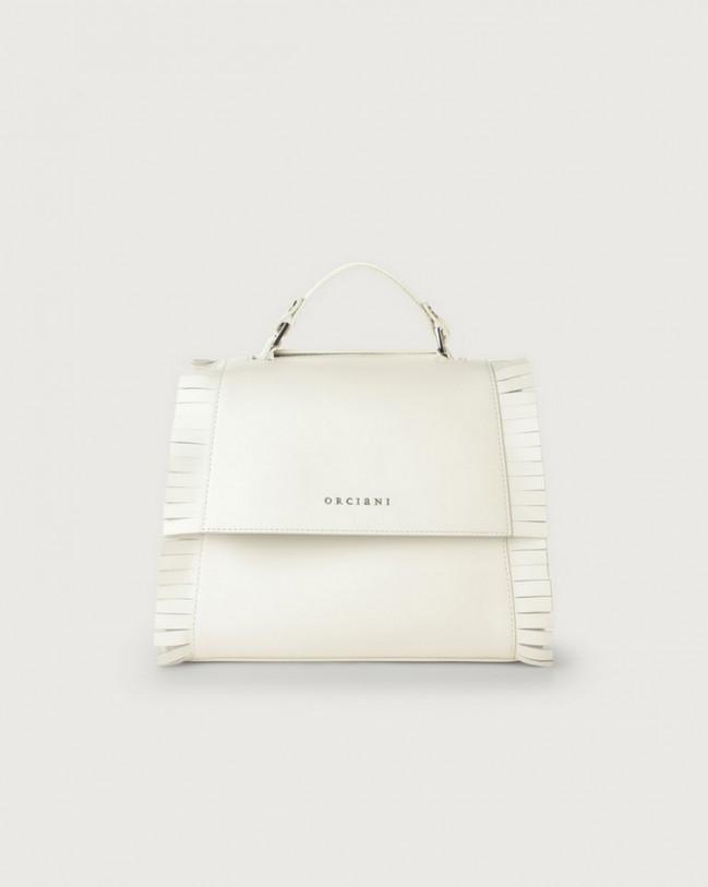 Orciani Sveva Liberty Fringe small leather handbag with strap Leather White