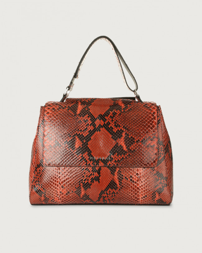 Orciani Sveva Diamond medium python leather shoulder bag with strap Python Leather Coral