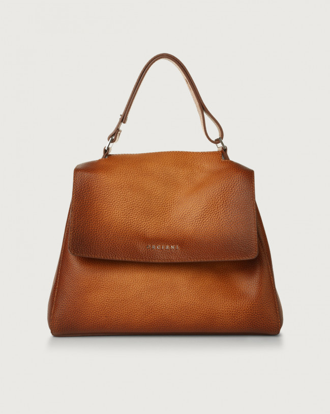 Orciani Sveva Vanish One medium leather shoulder bag with strap Leather Cognac