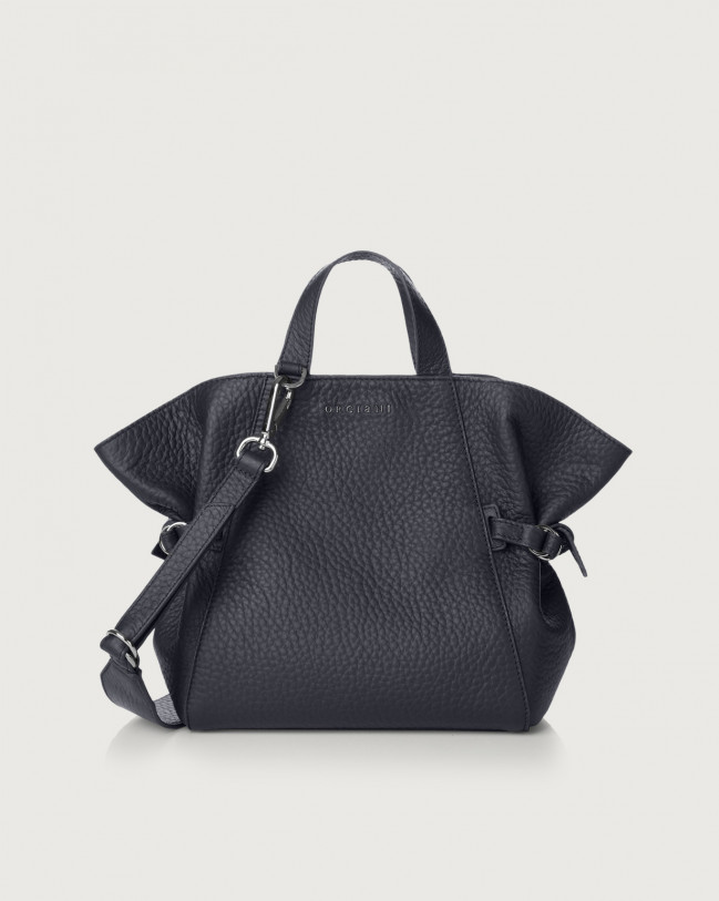 Orciani Fan Soft small leather handbag Leather Navy